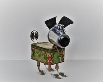 Found Object Robot Dog - Assemblage Art - Robodog - Upcycled Recycled Sculpture