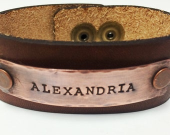 "Personalized 1"" wide Horween leather bracelet with antiqued copper ID plate"