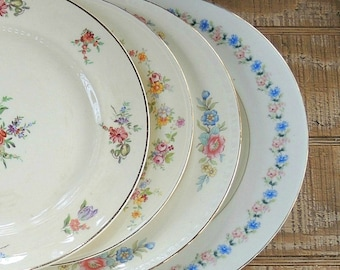 Mismatched Vintage Dinner Plates Set of 4 Plates for Wedding, Limoges Plates, Replacement China