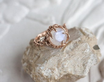"""Rose Gold or White Moonstone Ring """"Tenere"""". Moonstone Engagement Ring, Delicate ring, Branch ring, Wedding ring. Made to order!"""