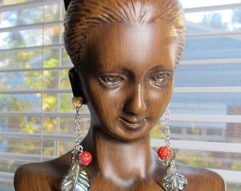 Heart and Rosebud Earrings