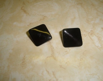 vintage clip on earrings black lucite