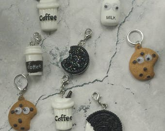 Milk/Coffee and Cookies stitch marker