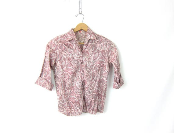 1950s Pink Paisley Top Printed Shirt Button Up Blouse Retro Quarter Sleeves Hipster MOD Top Women's size XS Louannes Vintage