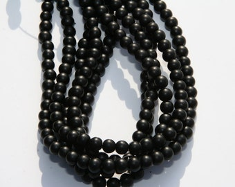 140 Pcs. glass beads / frosted / black / 6mm MS-6
