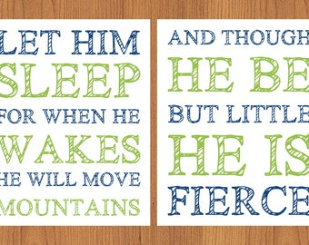 Let Him Sleep For When He Wakes Move Mountains And Though He Be But Little He is Fierce  Nursery Wall Art Lime Green Navy 2- 8x10(178)