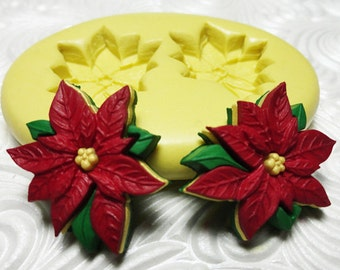 POINSETTIA MOLD Christmas Holiday Mold Silicone Rubber Push Mold for Resin Wax Fondant Clay Fimo Ice 1215