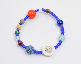 Stretchy Planet Bracelet, Solar System Bracelet, Space Bracelet, Mens Bracelet, Constellation Jewelry, Astronomy Gift, Stocking Stuffer