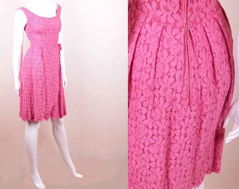 Original Vintage 1950's / 60's Pink Lace Dressmaker Made Summer Wedding Garden Party Dress