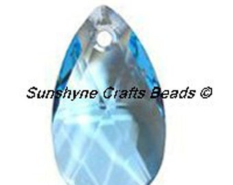 Swarovski Crystal Beads 6106 AQUAMARINE Pear Shaped Pendant 1 Pc - 16mm & 22mm Available