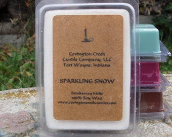 Holiday Candle Sparkling Snow Pure Soy Covington Creek Candle Company  Breakaway Melt.