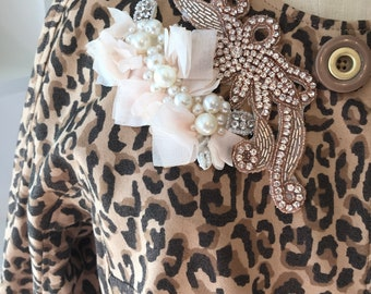 Leopard Jacket with Rhinestone Shabby Chic Trim