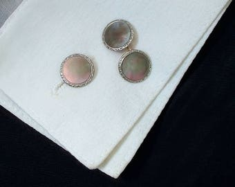 LARTER & SONS 10K Solid GOLD Art Deco Cufflinks. Antique Cuff Links Studs Set Mother of Pearl, Formal Wedding Mens Jewelry, Gift for Him