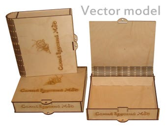 Small box drawing, laser cut vector model, vector template for laser cutting, cnc file, instant download
