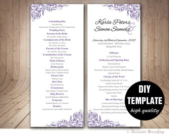 Purple Wedding Program,Lavender Wedding Program Template DIY,Microsoft Word Template,Silver Wedding Tea Lenght,Elegant Wedding Program