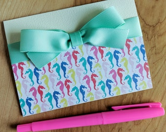 Colorful seahorse - greeting card - bow - birthday - card - Invitation card - birthday card - invitation - Shower