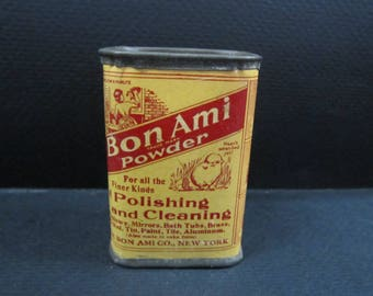 Vintage mini Bon Ami cleaning powder tin never opened