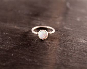 Opal Thick Gemstone Ring - ONE RING (Rose Gold Sterling Silver Alternative Engagement Birthstone Wedding Bridal Party Gifts Under 50)