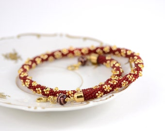 Red and Gold - Bead Crochet Necklace  Luxury Necklace Red Gold Jewelry  Beadwork  Beaded Necklace Traditional Modern Gift for Her