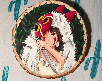 Princess Mononoke handpainted woodslice