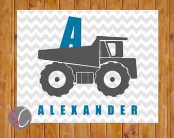 Printable Dump Truck Wall Art Personalized Construction Boys Play Room Toddler Decor Chevron Grey Blue Printable 8x10 Digital JPG (39)