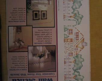 """Country English Cottage,pre cut wall stencil, actual size 6 1/4"""" x 16 3/16"""", 3 18"""" stencils and instructions,#26631"""