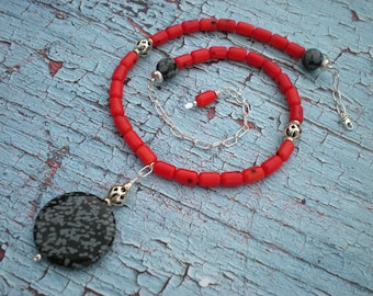 Fire and ash beaded necklace, snowflake obsidian, red coral, sterling silver, one of a kind, unique jewelry by Grey Girl Designs on Etsy
