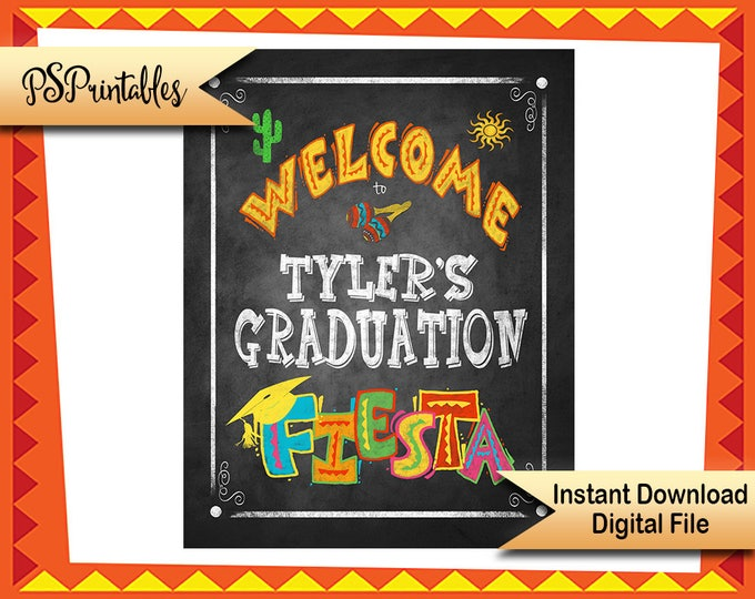 DIY printable grad sign, graduation party sign, graduation welcome, DIY grad sign, graduation fiesta, fiesta graduation, congrats grad sign