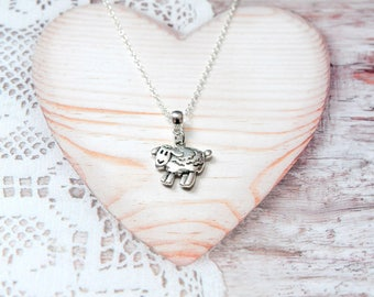 Sheep animal charm pendant chain necklace