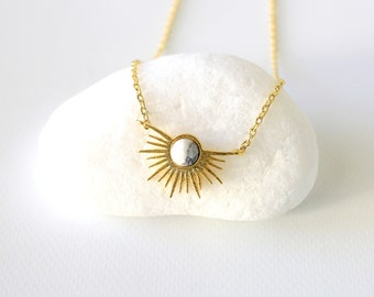 Gold Starburst with Howlite Stone Charm Necklace, Starburst Necklace, Dainty Necklace,9010