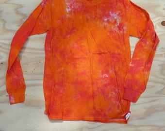 Orange Crush Long Sleeve Tie Dye T-Shirt (Gildan Heavy Cotton Size S) (One of a Kind)