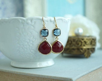 Wedding Jewelry Navy Blue and Burgundy Red Earrings Gold Blue and Maroon Blue and Masala Bridesmaid Gift Dangle Earrings Christmas Gift Idea
