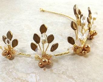 Midsummer Night Tiara Gold Fairy Crown Summer Wedding Costume Crown