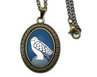 Snowy Owl Necklace Snowy Owl Jewelry Hedwig Owl Necklace Harry Potter Jewelry Harry Potter Necklace Owl Pendant Snow Owl Necklace