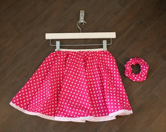 Polka Dot, Circle Skirt, With matching Hair Scrunchie, Retro Skirt, Swing Skirt, Handmade Scrunchie