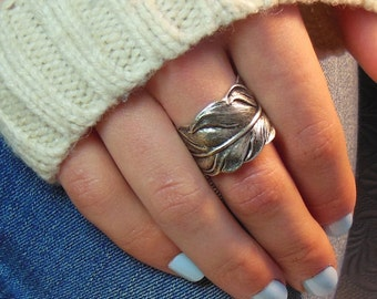 Feather Ring, Silver Leaf Ring, Thumb Ring