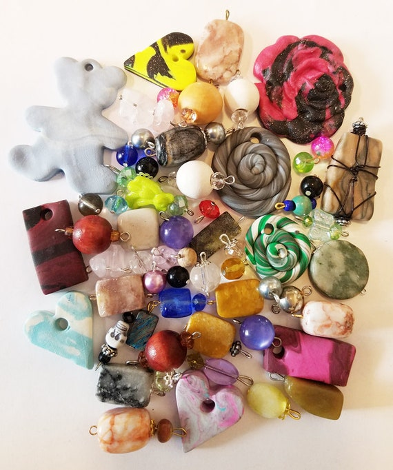 59 bead drops clay stone pendants charms mixed lot glass plastic beads jewelry making