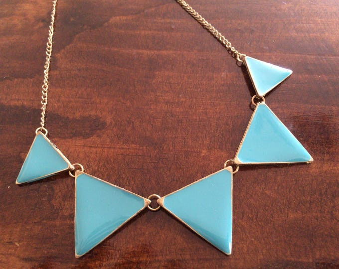 Vintage Turquoise Blue Enamel Triangles & Gold Tone Necklace