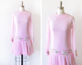 60s pink mod dress, 1960s embroidered floral mini dress, sheer drop waist pleated boho hippie dress, extra small xs