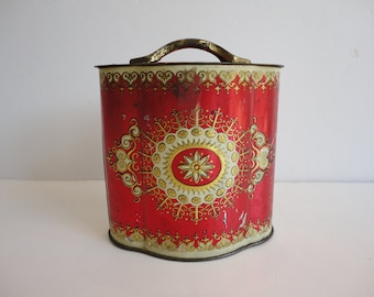Vintage fancy red gold tin, Murray Allen, renaissance box, distressed red gold tin, fancy container made in England, Venice