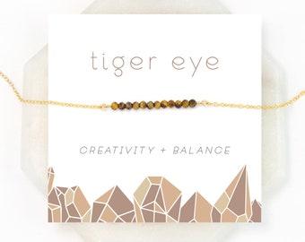 Natural Tiger Eye Necklace, Balance Stone, Celestial Jewelry, Cat's Eye, Festival Necklace, Woodland Jewelry, Rustic Wedding, Gemstone Bar