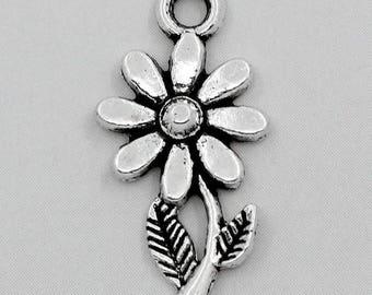 5 silver metal sunflower flower charms pendants