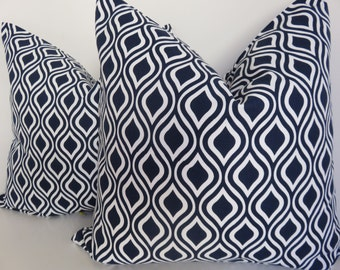 SALE!! Pair Pillow Covers -Set Of 2 Pillow Covers - Navy Blue Pillow Cover - Blue White Pillow -18x18- Set Pillows - Pillow Cover