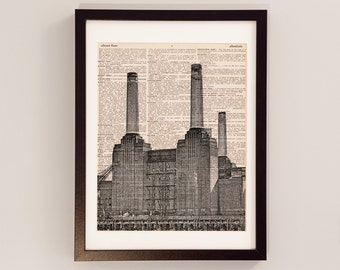 London Battersea Power Station Art Print - Print on Vintage Dictionary Paper - London England Art