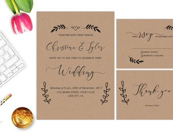 Rustic Wedding Invitation Printable Wedding Invitations Kraft Wedding Invitation Wedding Invites Suite Digital Krafted Invitation Set