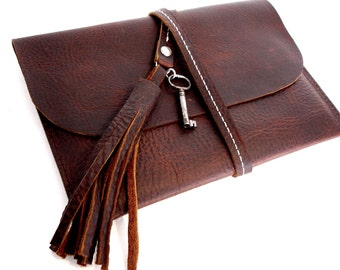 SALE Leather iPad Mini Case With Antique Key and Tassel - Kindle Cover Sleeve - Mahogany Brown Clutch Tablet