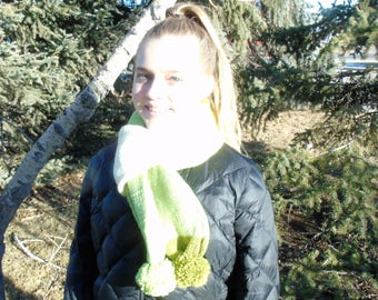 Knit Tube Scarf with Pom Poms-Pistachio