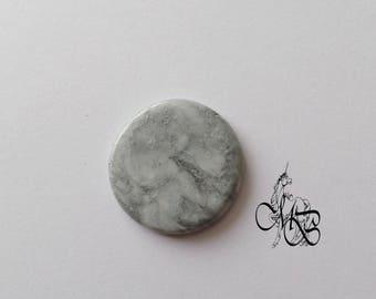 "Flat cabochon polymer clay ""imitation gray stone"" #5"
