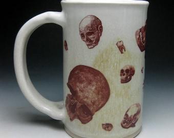 Mustache Mug- Raining Skulls- Left Handed