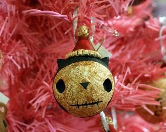 Skull-faced Black Cat Ornament